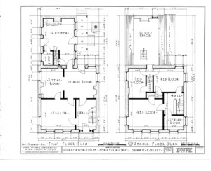 Blueprint for the Bronson house featuring first floor plan, and second floor plan.