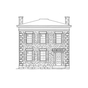 Line art of Bronson house featuring an all brick exterior, windows with shutters, door casing mouldings with windows, and cornice mouldings.