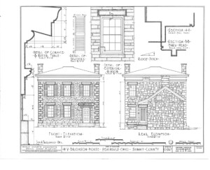 Blueprint for the Bronson house showcasing front elevation, and rear elevation, featuring an exterior window with window mouldings.