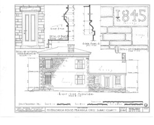 Blueprint for the Bronson house showcasing rear side elevation, featuring a porch door with door jambs, and door mouldings.