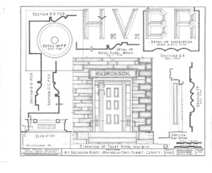 Blueprint for the Bronson house showcasing elevation of the front door.