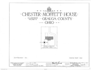 Blueprint cover page by the American Building Survey describing the Chester Moffett House erection date, address, and architect information.