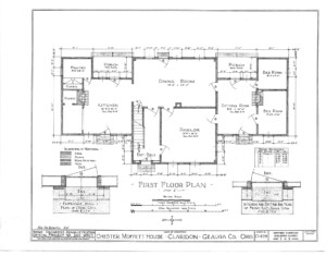 Blueprint for the Chester Moffett House featuring first floor plan.