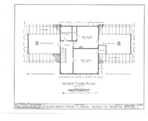 Blueprint for the Chester Moffett House featuring second floor plan.