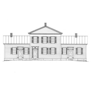 Line art of Chester Moffett House featuring shingle siding, windows with shutters, doors with panel molds, door casings, and all brick chimneys.