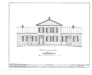 Blueprint for the Chester Moffett House showcasing west elevation featuring windows with shutters, and door mouldings.