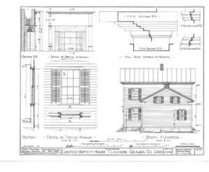 Blueprint for the Chester Moffett House showcasing south elevation featuring windows with shutters, mantel mouldings, and shingle siding.