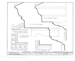 Blueprint for the Chester Moffett House showcasing main cornice mouldings, and cornice in wings moulding.