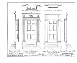 Blueprint for the Chester Moffett House showcasing main entrance door mouldings featuring columns, and more door mouldings.