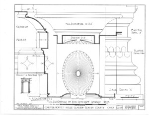 Blueprint for the Chester Moffett House showcasing main entrance doorway mouldings featuring cornice, frieze, capital, flutes, and base.
