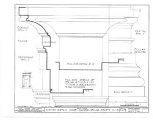 Blueprint for the Chester Moffett House showcasing column mouldings featuring cornice, frieze, capital, column, and base.