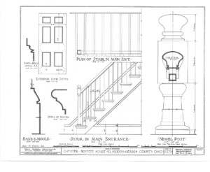 Blueprint for the Chester Moffett House showcasing stairs in the main entrance featuring balusters, and newel posts.
