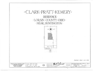 Blueprint cover page by the American Building Survey describing the Clark Pratt Kernery house erection date, address, and architect information.