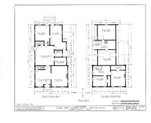 Blueprint for the Clark Pratt Kernery house featuring first floor plan, and second floor plan.