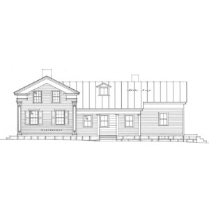Line art of Clark Pratt Kernery house featuring shingle siding, dormer on roof, window mouldings, windows with shutters, and an overhanging roof.