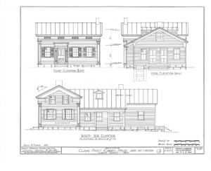 Blueprint for the Clark Pratt Kernery house front elevation, rear elevation, north side elevation with door mouldings, and windows with shutters.
