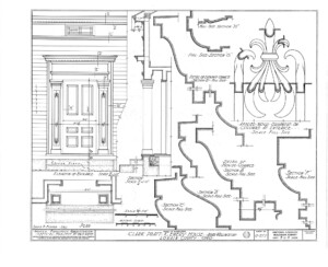 Blueprint for the Clark Pratt Kernery house showcasing elevation of entrance along with door panel molds.