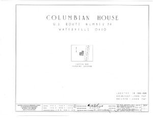 Blueprint cover page by the American Building Survey describing the Columbian House erection date, address, and architect information.