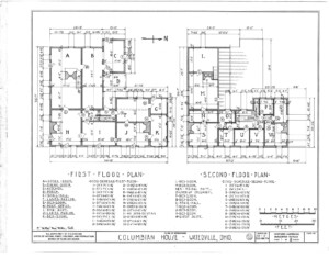 Blueprint for the Columbian House featuring first floor plan, and second floor plan.