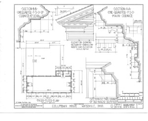 Blueprint for the Columbian House featuring third floor plan.