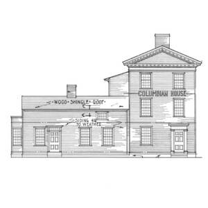 Line art of Columbian House featuring window casing mouldings, door casing mouldings, hipped roof, and shingle siding.