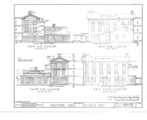 Blueprint for the Columbian House featuring north side elevation, west rear elevation, south side elevation, and east front elevation.