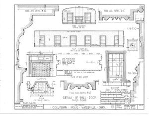 Blueprint of Columbian House showcasing fireplace mantel mouldings, and window mouldings.