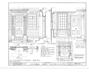 Blueprint of Columbian House showcasing door mouldings, doorway columns, and window mouldings.