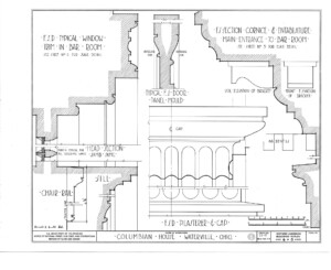 Blueprint of Columbian House showcasing main entrance mouldings including door panel mouldings, chair rails, and pilaster cap molds.