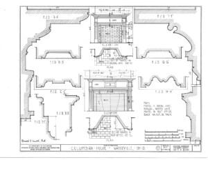 Blueprint of Columbian House showcasing fireplace mantel moulding profiles.