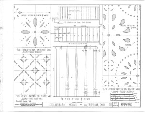 Blueprint of Columbian House stair balustrades showcasing their unique beautiful design patterns.