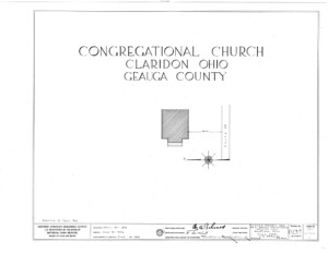 Blueprint cover page by the American Building Survey describing the congressional church building erection date, address, and architect information.