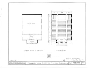 Blueprint for the congressional church building featuring floor plan.