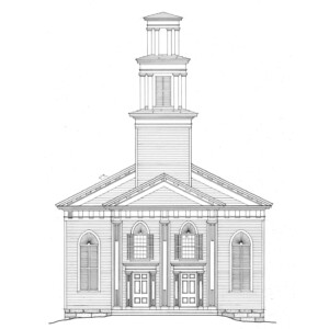 Line art of congressional church building showcasing rounded top windows, window shutters, shingle siding, and centered tower with columns.