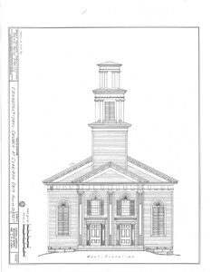 Blueprint for the congressional church building featuring west elevation.