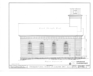 Blueprint for the congressional church building featuring north elevation.