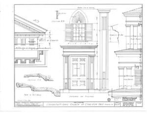 Blueprint of congressional church building entrance and pilaster mouldings, including cornice mold details, along with flush board details.