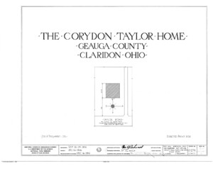 Blueprint cover page by the American Building Survey describing the Cordon Taylor House erection date, address, and architect information.