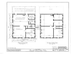 Blueprint for the Cordon Taylor House featuring first floor plan, and second floor plan.