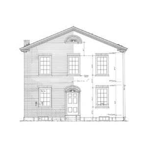 Line art of corydon taylor house featuring an all brick exterior wall, window mouldings, steps to front door, and front door panel molds.
