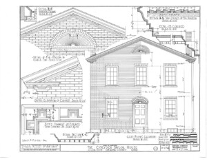 Blueprint for the Cordon Taylor House east elevation featuring window mouldings, and door mouldings.