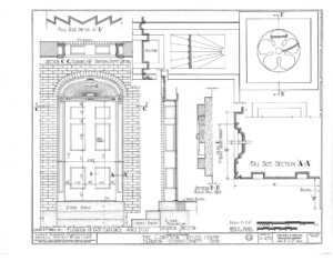 Blueprint for the Cordon Taylor House east elevation entrance featuring door mouldings.