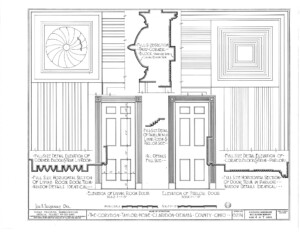 Blueprint for the Cordon Taylor House living room door entrance elevation featuring door mouldings and parlor door elevation.