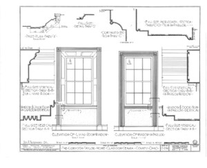 Blueprint for the Cordon Taylor House elevation of living room window featuring window mouldings.