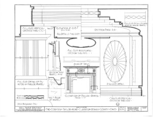 Blueprint for the Cordon Taylor House elevation of living room mantel featuring mantel mouldings.