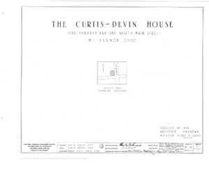 Blueprint cover page by the American Building Survey describing the curtis devin house erection date, address, and architect information.