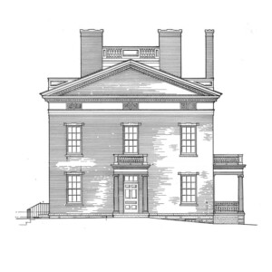 Line art of house curtis devin house featuring columns in front of door with side balcony, front balcony, and window casing mouldings.