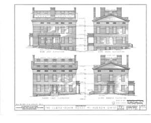 Blueprint of curtis devin house rear west side elevation, side south elevation, front east elevation, and side north elevation.