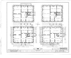 Blueprint of the curtis devin house ground floor plan, first floor plan, second floor plan, and attic floor plan.