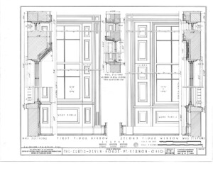 Blueprint of curtis devin house first floor window elevation, and second floor window elevation both featuring panel molds, and window casing.